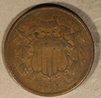 1864 TWO CENT PIECE CIRCULATED                     FREE U.S. SHIPPING