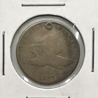 1857 1C FLYING EAGLE CENT: ATTEMPTED HOLE