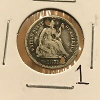 1872 H10C SEATED LIBERTY HALF DIME: HOLED 1