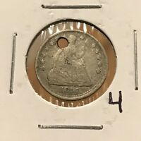 1857 H10C SEATED LIBERTY HALF DIME: HOLED 4
