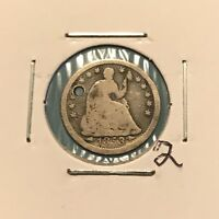 1853 H10C SEATED LIBERTY HALF DIME: HOLED 2