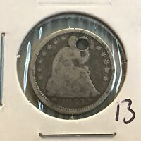 1853 H10C SEATED LIBERTY HALF DIME: HOLED 13
