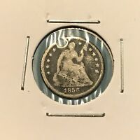 1856 H10C SEATED LIBERTY HALF DIME: HOLED