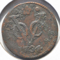 1734 1 DUCIT DUTCH NEW YORK VOC COPPER COLONIAL CIRCULATED COIN