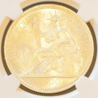 1900 A FRENCH INDO CHINA ONE PIASTRE SILVER COIN NGC MS 63
