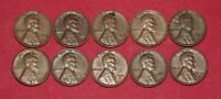 10 LINCOLN WHEAT CENTS WITH OBVERSE LAMINATION ERRORS   1941 1958 LOT