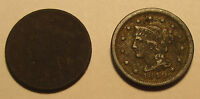 LOT OF 2 LARGE CORONET HEAD CENTS DIFFERENT DATES 1820 AND 1849