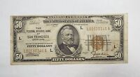 SERIES 1929 BROWN SEAL $50 FEDERAL RESERVE BANK SF NOTE FINE FR1880 L