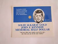 1 1 2: 14K SOLID GOLD US$0.5 COIN OF JFK KENNEDY 30TH ANNIV.   US OLD ONE CENT