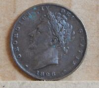 1826 FARTHING KING GEORGE IV 1/4 D ENGLISH COPPER COIN COIN3