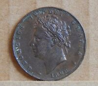 1826 KING GEORGE IV 1/4 D ENGLISH COPPER COIN  COIN2