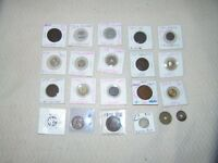 MIXED LOT OF 22 WORLD COINS MOSTLY 1800'S IN 2X2'S SOME BU