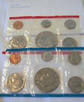 1975 P/D US MINT UNC COIN SET W/LARGE IKE DOLLARS IN ORIGINAL ENVELOPE