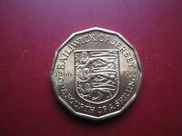 BAILIWICK OF JERSEY 1966 1/4 OF A SHILLING 3 PENCE NICKEL BRASS COIN ABOUT UNC