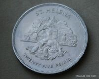 ST HELENA UNCIRCULATED 1977 CORONATION SILVER JUBILEE 25P CROWN SIZE COIN YRF20