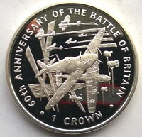 ISLE OF MAN 2000 BATTLE OF BRITAIN CROWN SILVER COIN PROOF