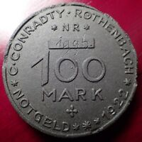 1922 100 MARK C. CONRADTY ROTHENBACH NOTGELD MADE OF COMPRESSED COAL DUST