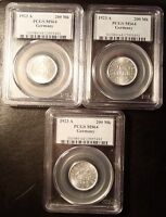 LOT OF  3  1923 A GERMANY 200 MARKS PCGS MS64