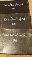1980S US PROOF SET BOXES  EMPTY NO COINS . REPLACEMENT BOXES 1980 1989