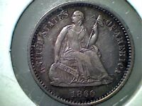 1860 O SEATED LIBERTY  HALF DIME  AU