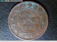 AN 1891 LARGE ONE CENT NICE COLLECTIBLE COIN DIE CRACK BTWN LEAF 15 & 16