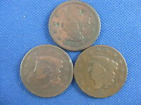 LOT OF 3 US LARGE CENT  ONE CENT COINS 1833 1835 1846