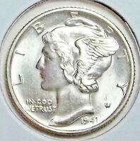 1941 D MERCURY DIME   BLISTERING LUSTER .. STUNNING WHITE COIN WITH FULL BANDS