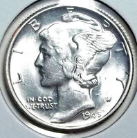 1945 P MERCURY DIME   NEARLY FULL LUSTER .. NICE AU/BU COIN