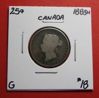 1883 H 25 CENT CANADA TWENTY FIVE CENTS QUARTER COIN ZC 100   $18 G