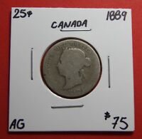 1889 25 CENT CANADA TWENTY FIVE CENTS QUARTER COIN ZC 103   $75 AG