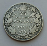 1909 CANADA 25 TWENTY FIVE CENT .925 STERLING SILVER COIN