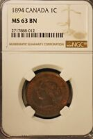 1894 CANADA LARGE CENT NGC MS 63 BN           FREE U.S. SHIPPING