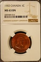 1902 CANADA LARGE CENT NGC MS 63 BN         FREE U.S. SHIPPING