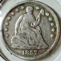 1857 P NO 2 SEATED LIBERTY HALF DIME   VG   F   A LITTLE MORE NATURAL