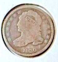 1830 CAPPED BUST DIME  AU NATURALE   ALMOST HOLED