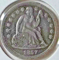 1857 SEATED LIBERTY DIME LAUREL WREATH STARS OBVERSE . STORY LINE BELOW