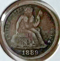 1889 SEATED LIBERTY DIME CEREAL WREATH LEGEND OBVERSE
