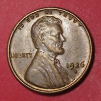 1926 S LINCOLN WHEAT CENT   AU STRONG STRIKE SEMI KEY DATE