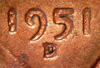 1951 D/D LINCOLN WHEAT CENT WITH ERROR RPM 030