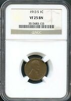 1913 S 1C VF 25 BN NGC  FINE LINCOLN WHEAT CENT