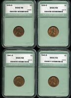 1935-S 1939-D 1941-S 1942-S 1C LINCOLN WHEAT CENTS GEM BU CONDITION LOT OF 4