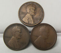 LOT OF 3 - 1913 1914 1915 S LINCOLN WHEAT CENT PENNY VG- EXTRA FINE  C1243