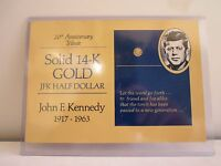 SOLID 14 K GOLD JFK HALF DOLLAR 20TH ANNIVERSARY WITH A HARD PLASTIC PROTECTION