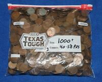 1000 LINCOLN WHEAT PENNIES CENTS BAG LOT   1940 TO 1958 P D S   NO CULLS