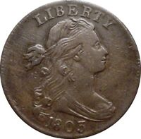1803 DRAPED BUST CENT-- FINE