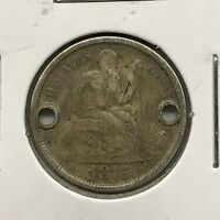 1875-S 10C SEATED LIBERTY DIME: HOLED