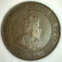 1910 COPPER CANADIAN LARGE CENT COIN 1 CENT CANADA VF 1