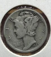 1945 S MERCURY SILVER DIME MICRO.COLLECTOR COIN FOR YOUR SET OR COLLECTION.1