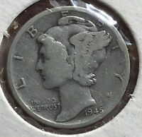 1945 S MERCURY SILVER DIME MICRO.COLLECTOR COIN FOR YOUR SET OR COLLECTION.2