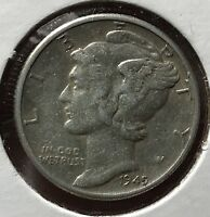 1945 MERCURY SILVER DIME MICRO.COLLECTOR COIN FOR YOUR SET OR COLLECTION. 1